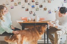 Their engagement shoot started with a pancake breakfast in their kitchen with their cute dog, Libby, looking on enviously, and ended up with a spot of antique hunting around their neighbourhood. (photos by @Hazelwood Photo Wedding Photography)