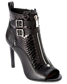 "Vince Camuto ""Kammie"" Snakeskin-Embossed Leather Ankle Boot"