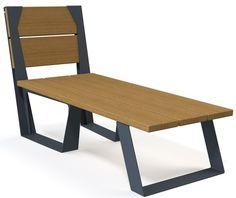 guyon transat bois metal legna mobilier urbain / guyon legna timber metal deck chair street furniture Deck Chairs, Dining Bench, Outdoors, Urban, Stylish, Diy, Furniture, Design, Home Decor
