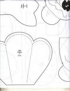 Gallina Portabolsa . Moldes tamaño natural  PATRONES GALLINA GUARDA BOLSAS 2