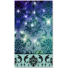 Diamond Damask, FAIRY LIGHTS in Blue and Teal Business Card from Zazzle.com