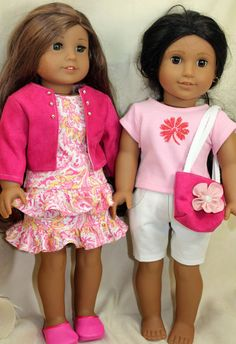 American Girl Doll Clothes, Seven piece pink co-ordinating outfits including clogs via Etsy