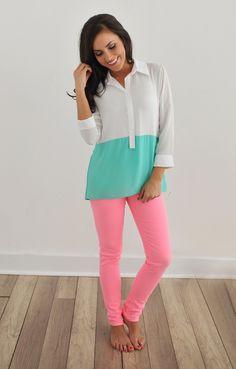 Dottie Couture Boutique - Color Block Blouse, $38.00 (http://www.dottiecouture.com/color-block-blouse/)