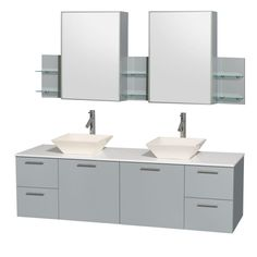 """Wyndham Collection WCR410072DDGWSMED Amare 72"""" Double Vanity Cabinet Set - Inclu White Stone Top / Pyra Bone Porcelain Sink Fixture Vanity Double"""