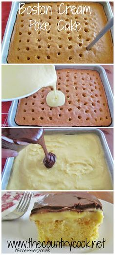 Boston Creme Poke Cake Link on picture doesn't work so try this link www.thecountrycoo...