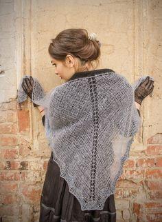 womens gift - triangle shawl - lace shawl - russian shawl - steel blue  shawl - bohemian shawl - lace shawl 668eddaaae5