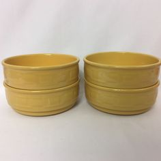 Longaberger Pottery Woven Traditions 4 Soup / Cereal Bowls Stacking Butternut #Longaberger