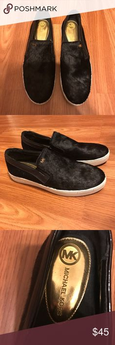 Michael kors Keaton slip on Black hair calf slip on shoe. Comfortable cushiony sole with genuine black hair calf on the exterior MICHAEL Michael Kors Shoes Flats & Loafers