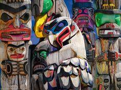 Totem Poles on Vancouver Island in British Columbia Canada in the Pacific Northwest - a Fine Art Cultural Landscape Photograph Native American Totem Poles, Native American Art, American Symbols, American Women, American Indians, American History, Totems, Arte Haida, Haida Art