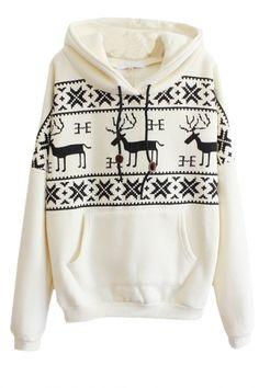 Christmas Mono Deer Print Long Sleeve Pocket Front Hoodie  #bhalo #beautifulhalo #fashion #michaelkors #h&m #outfit #dress #boots #jacket #denim #pants #jeans #sweater #sneakers #adidas #converse #prada #coat #bag #velvet #beanie #ugg #kimono #Chanel #GianvitoRossi #vintage #women's #clothing #fashion #women #female #woman #misses #Romper #Originals #mini #skirt #hoodie
