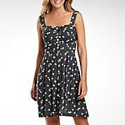 B Smart Button Front Print Dress with Pockets