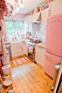 I want this Fridge! Love this old Galley Kitchen