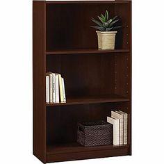 Staples Hayden Laminate Bookcase, 3-shelf, Hilton Cherry