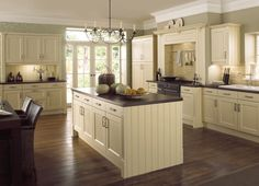 Inspiring fantastic and apeealing french country kitchen design photos : Brown Wooden Floor Also With Pendant Lamp Also With Wall Storage Also With Pendant Lamp Desk