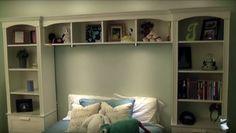 Bed bridge bookcase