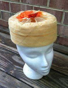 Vintage pillbox hat, yellow, orange fabric flower, Jackie Kennedy, net, satin by Pastelvintage on Etsy