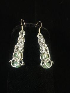 """Aventurine Double Drop"" Captive Gemstone Earrings"