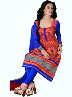 Party Wear Orange and Blue Heavily Embroidered Chanderi Cotton Suit. Comes along with Santoon Bottom and Viscose Dupatta.