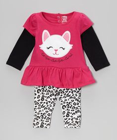 When effortless coordination is the name of the game, nothing tops this adorable set! With a bright, layered top and playfully patterned leggings, it'll keep cuties comfy day after day no matter how much they play!