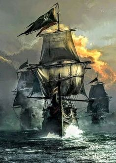 A pirate ship RP. So far there is only one ship. Ask me or send me a message to make your own ship. Pirate Art, Pirate Life, Pirate Ships, Digital Art Illustration, Bateau Pirate, Old Sailing Ships, Ghost Ship, Black Sails, Tall Ships