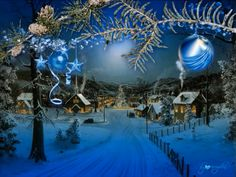 Beautiful Christmas Scenes, Christmas Scenery, Hanging Christmas Tree, Whimsical Christmas, Christmas Music, Blue Christmas, Winter Christmas, Christmas Time, Christmas Things