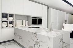 New kitchen design: clean-line calacatta quartz waterfall countertops for your modern kitchen style