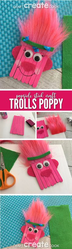 Trolls Poppy Popsicle Stick Craft for Kids via Craft Create Cook - DIY Projects for Kids Daycare Crafts, Toddler Crafts, Preschool Crafts, Preschool Learning, Popsicle Stick Crafts For Kids, Craft Stick Crafts, Popsicle Sticks, Craft Sticks, Projects For Kids