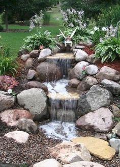 Small Waterfall Pond Landscaping For Backyard Decor Ideas 98 – Backyard Pond Pro Advice – Join the world of pin Garden Waterfall, Small Waterfall, Waterfall Landscaping, Waterfall Design, Diy Pondless Waterfall, Small Backyard Landscaping, Landscaping With Rocks, Landscaping Ideas, Backyard Ideas