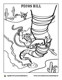 Pecos Bill Coloring Page Tall Tales Activities, Coloring Books, Coloring Pages, Pecos Bill, Fairy Tale Crafts, Paul Bunyan, Geography Lessons, American Legend, Summer Art