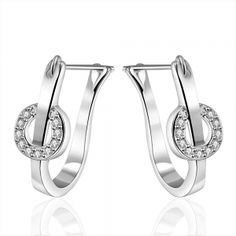 Sterling Silver U Shaped Crystal Hoops. * Genuine Sterling Silver  * Weight (grams):4.50 * Dimensions: 2.3X0.8CM * AAAA Top Quality. Top Clarity. Cubic Zirconia. * Made with Swarovski Elements * Made to last a lifetime * Lead and Nickle Free