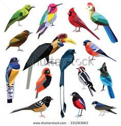 Birds set colorful low poly design isolated on white background.