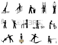 pictogram people: People in action - set of vector icons, pictograms. Black simple images on white.