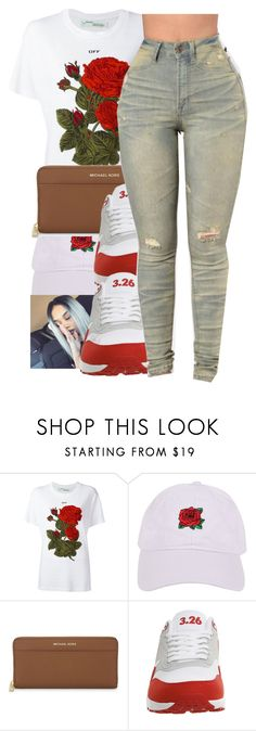 """""""Untitled #234"""" by glowithbria ❤ liked on Polyvore featuring Off-White, Armitage Avenue, MICHAEL Michael Kors and NIKE"""