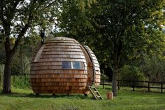 "This unique retreat has been described by its designers as an ""elliptical, organic, rotating pod"". The pods are intended to serve a variety of uses, from a"