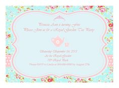 Shabby Chic Princess Garden Tea Party Invitation for Birthdays, Baby shower. DIY .. do it yourself.. printable on Etsy, $10.00