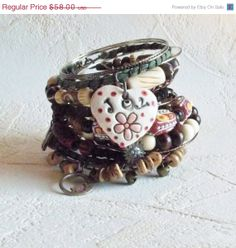 Tribal Bohemian Stack Bracelet New by ArKaysCreations on Etsy, $52.20