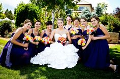 Fun wedding party pics - make the formal picture taking process more enjoyable. Purple, yellow, coral and white Colorado wedding. Get more info from our e.books, self study guides and webinars. http://memory-lane.mybigcommerce.com