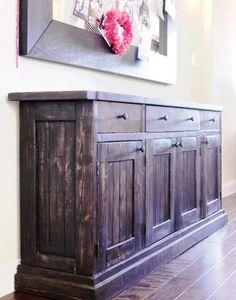 Ana white rustic sideboard buffet table diy projects with dining room sideboards and buffets plan 14 Rustic Buffet, Deco Buffet, Rustic Sideboard, Sideboard Buffet, Farmhouse Buffet, Buffet Tables, Dining Room Buffet Table, Sideboard Ideas, Home Decor Ideas