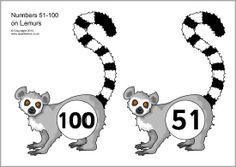 Numbers 51-100 on lemurs (SB11063) - SparkleBox