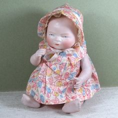 "Wonderful 8"" All Bisque Bye-Lo Baby ~ Super Clothes Too!"