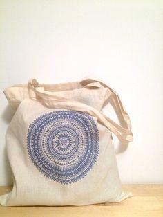 Mandala pattern illustration screen printed tote bag