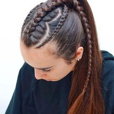 Elaborate hair dresser's work of crawling braids formed into a spectacular hairdressing. Princess Hairstyles, Braided Hairstyles Tutorials, Cute Hairstyles, Ponytail Styles, Short Hair Styles, Baby Hair Cut Style, Hair And Makeup Tips, Cool Braids, Braids For Kids