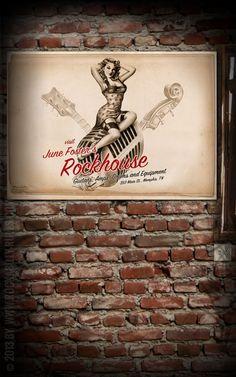 Rumble59 Poster - Rockhouse - Poster mit handgemaltem Pin-Up Motiv auf hochwertigem Papier im DIN A1 Format. - Rockabilly-Rules.com