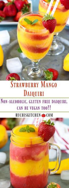 Treat your friends with a delightful, homemade, and healthy Strawberry Mango Daiquiri made with a slushy blend of strawberries and mangoes. Oh so refreshing and perfect for hot summer days! Mango Drinks, Strawberry Drinks, Summer Drinks, Strawberry Summer, Refreshing Drinks, Healthy Smoothies, Healthy Drinks, Healthy Detox, Healthy Recipes