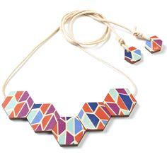 hardtofind. | Wooden Concertina Beaded Necklace - rainbow
