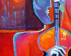 Giclee Fine Art Print on canvas of my original  Abstract Cubist Painting THE SUNSET GUITARIST  Marlina Vera Modern Fine Art Gallery