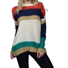 Multicolored striped sweater Very beautiful goes with almost everything . 100%Acrylic . Also available in another color and sizes . Sweaters