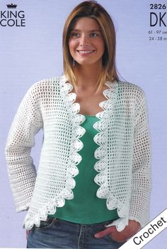 Crochet Boleros & Shrug Patterns | dk bolero crochet pattern kc 2826 bolero in 2 lengths crochet with dk ...