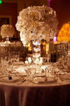 Tall Dripping White Orchid Wedding Centerpiece