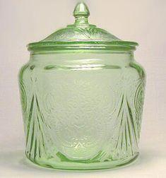 vintage depression glass cookie jars
